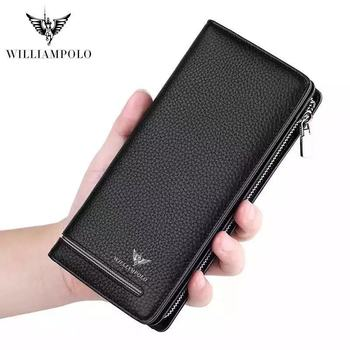Genuine Leather Luxury Brand Men Wallets Long Purse Wallet Male Clutch Business Organnizer Wallet Coin PL219 wallet male genuine leather men s wallets for phone clutch male bags ultrathin coin purse men cow leather simple long wallet new