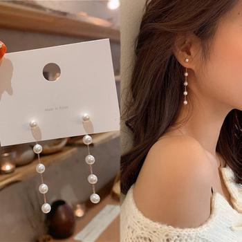 Trend symulacja długie kolczyki perłowe kobiece księżyc gwiazda kwiat z kryształkiem ślubny naszyjnik kolczyki modna biżuteria koreańska kolczyki tanie i dobre opinie Ze stopu cynku CN (pochodzenie) TRENDY moda kolczyki wiszące Bowknot Metal Kobiety
