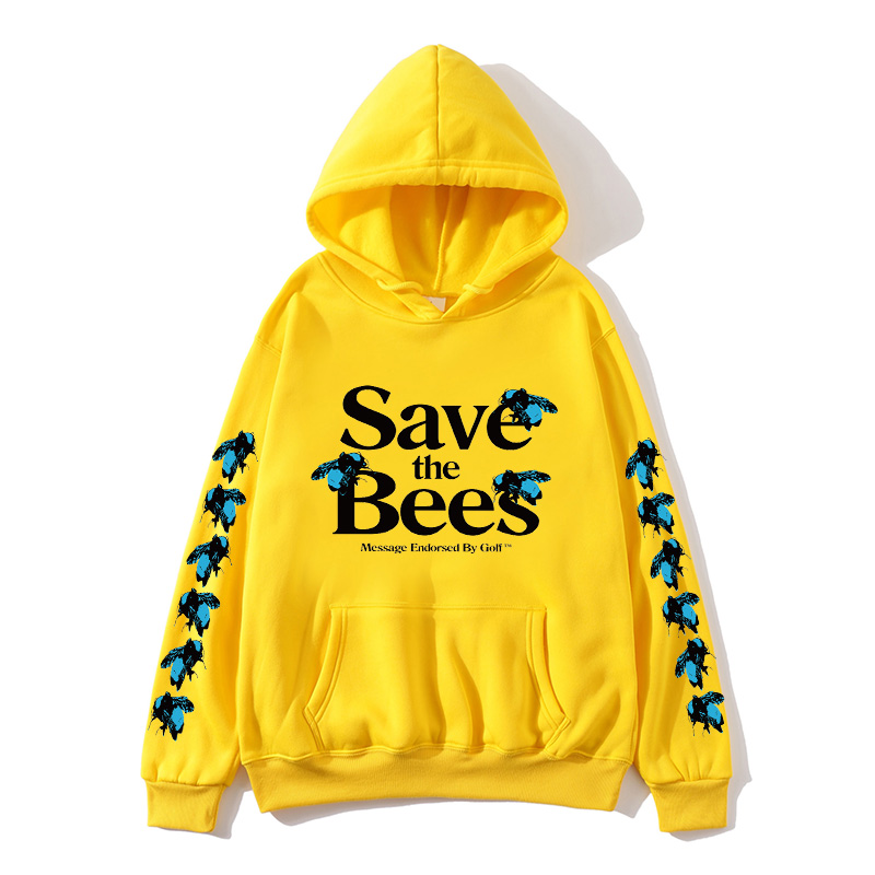 Europe And America Hot Sale SAve Bees Men's And Women's Hooded Pullover Street Trend Plus Velvet Hooded Long Sleeve Shirt