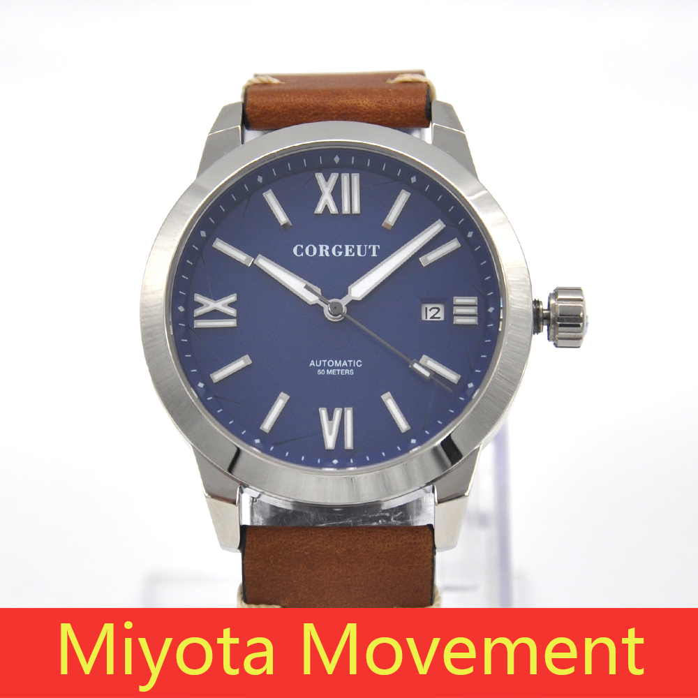 Corgeut Luxury 41mm blue dial steel case Pilot Military MIYOTA Automatic Mechanical wristwatch Luminous waterproof watch men