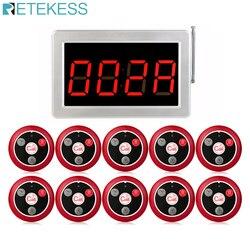 999 canais sem fio rf garçom sistema de chamada 1 receptor display host + 10pcs botão chamada t117 restaurante equipamentos