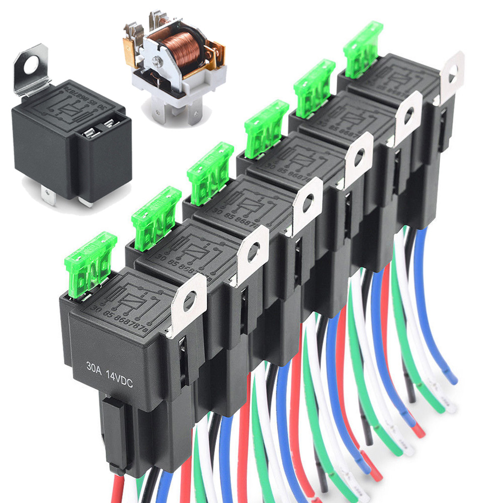 6Pcs/set Waterproof Automotive Relay Car Relay DC 12V 30A 4Pin  Relay Auto Relay Parts Tools Set With Blade Fuses Universal