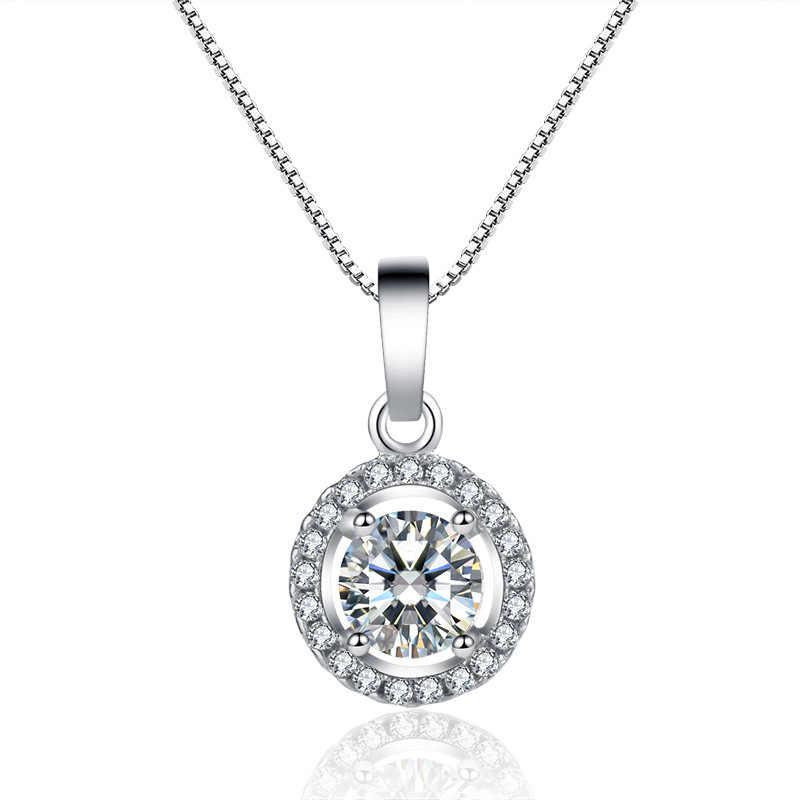 Trendi Berlian Perhiasan Set Nyata 925 Sterling Perak Pesta Pernikahan Cincin Anting-Anting Kalung untuk Wanita Pengantin Moissanite Perhiasan