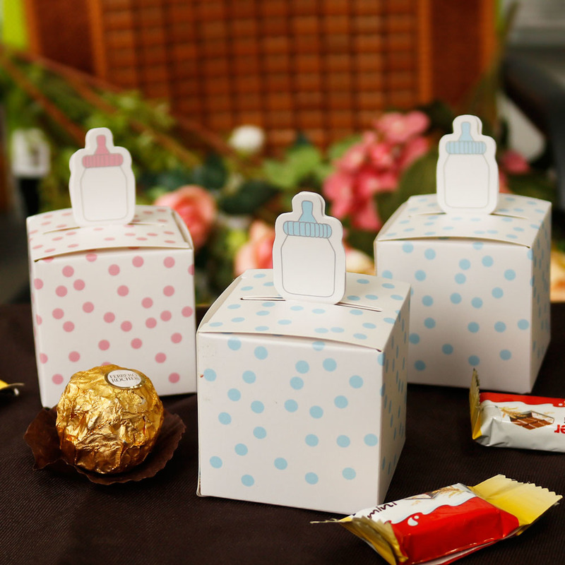 10pcs Paper Gift Box Kids Birthday Party Decorations Dots Candy Box Baby Shower Boy Girl Party Supplies Paper Box