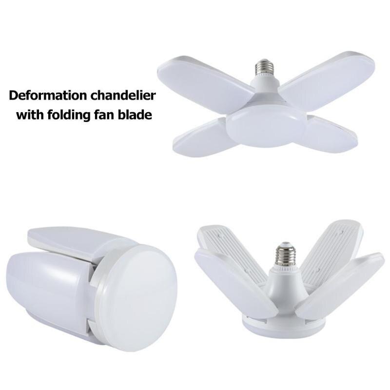 AC110V-265V 60W B22/E27 Deformable LED Garage Light Adjustable Ceiling Lamp Folding Fan Blade LED Work Light