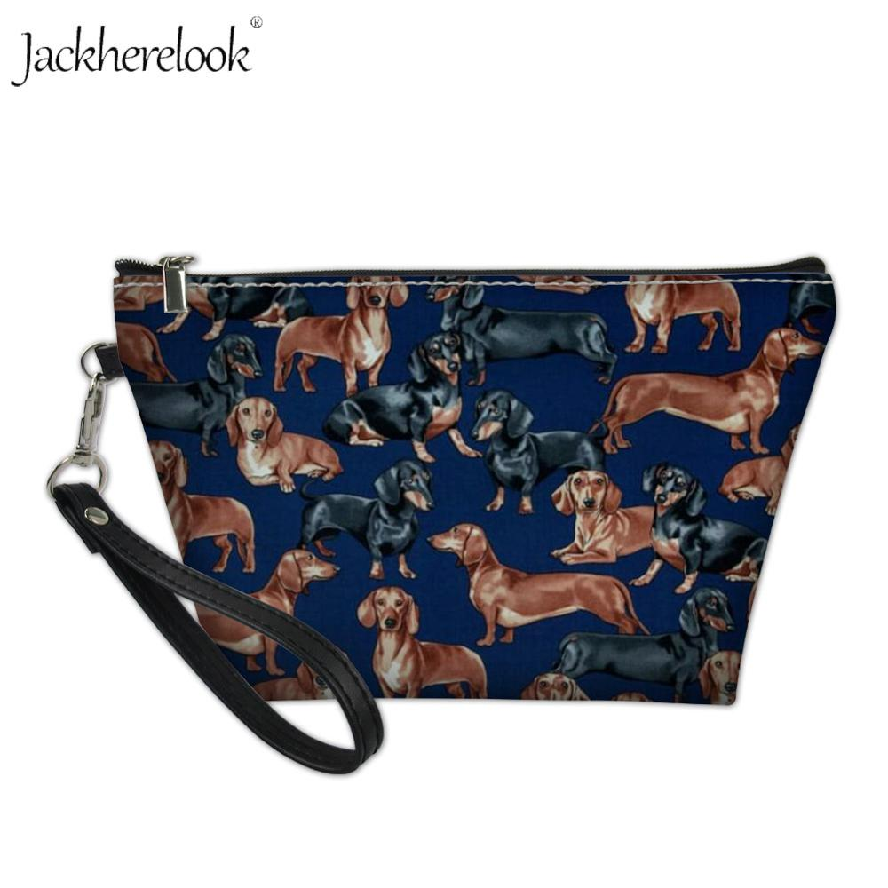 Jackherelook Dachshund Print Travel Makeup Bag Pet Animal Toiletry Pouch Portable Cosmetic Bags