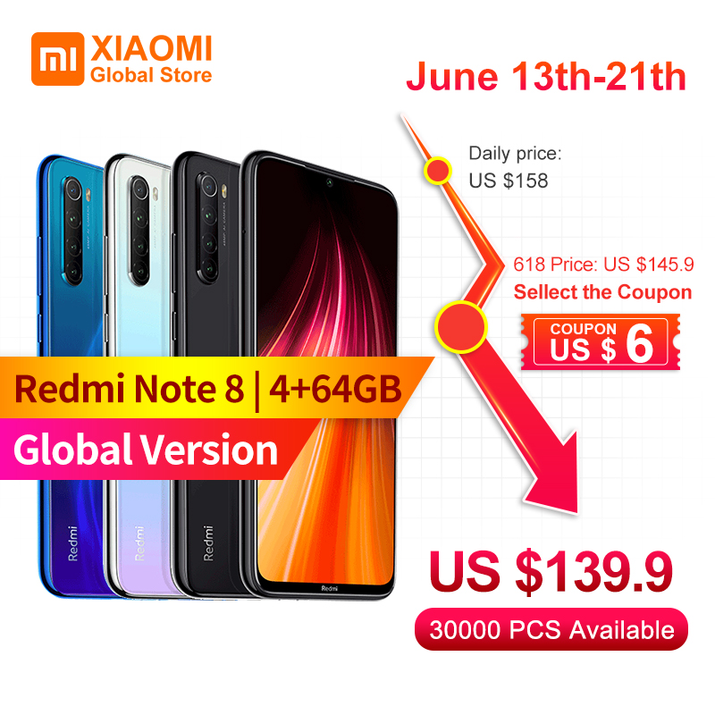Version mondiale Xiaomi Note 8 4 go RAM 64 go ROM téléphone portable Note8 Snapdragon 665 charge rapide 4000mAh batterie 48MP SmartPhoneMobile Téléphones   -