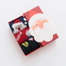 3pairs/lot Retail Package Autumn Winter New Cotton Children Socks Cute Cartoon Christmas Santa Claus Baby