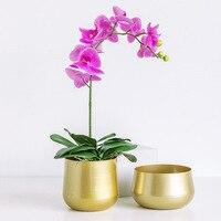 Ferro forjado dourado criativo vaso de flores estilo nórdico plantas suculentas de metal pátio jardim decoração da flor