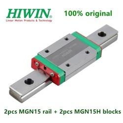2 sztuk oryginalny Hiwin szyna liniowa MGN15 100 150 200 250 300 330 350 400 450 500 600 mm + 2 sztuk MGN15H blok przewóz część cnc w Łożyska od Sport i rozrywka na