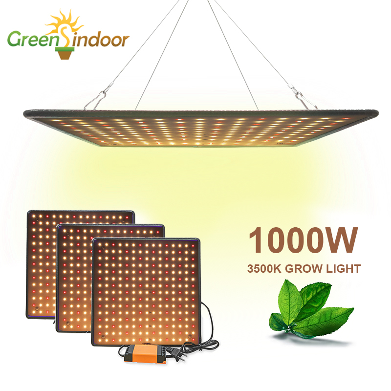 Luz Led interior 1000W 3500 K, Panel de luz de cultivo, lámpara Phyto de espectro completo para flores, lámpara para plantas, Leds blancos cálidos, tienda de cultivo Fitolamp