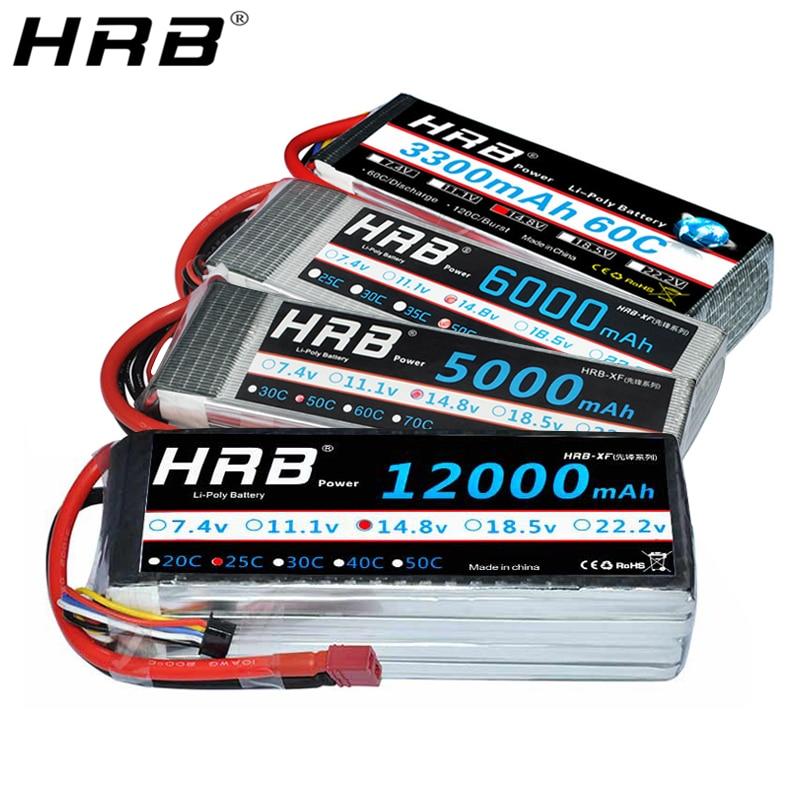 HRB 4S 14.8V Lipo Battery T Deans 2200mah 3000mah 3300mah 4000mah 5000mah 5200 5500 6000mah 10000mah 12000mah 22000mah RC Parts