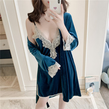 2019 Thicken Women Warm Robe & Gown Sets Golden Velvet Sleep Lounge Pijama Long Sleeve Ladies Nightwear Bathrobe+Night Dress