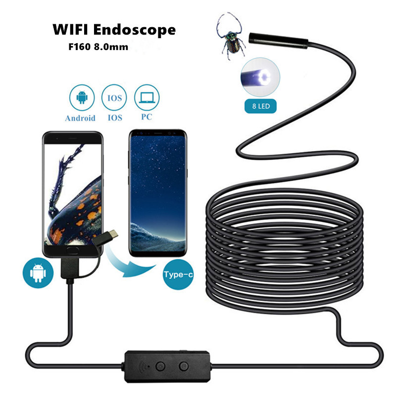 Wifi Endoscope USB 720P Borescope 8mm Mini Pipe Inspect Snake Camera Flexible ip68 Waterproof for Smartphone iphone Android