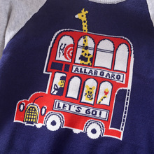 Детский свитер с рисунком автомобиля; коллекция года; сезон осень-зима; стиль; детский пуловер; вязаная рубашка; детская двухслойная одежда