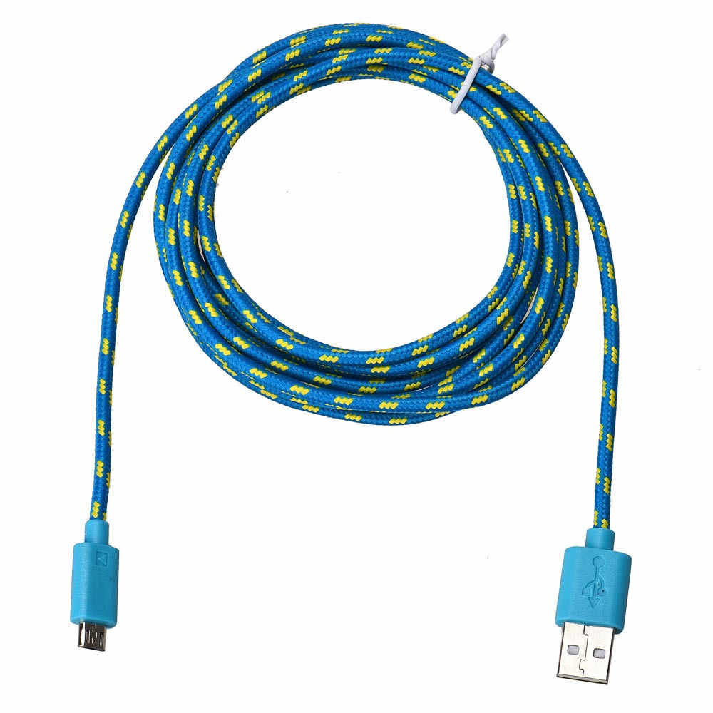 2020 Baru Universal Kecepatan Transfer Data Cepat 3 M Tali Rami Micro USB Kabel Data untuk Sel telepon