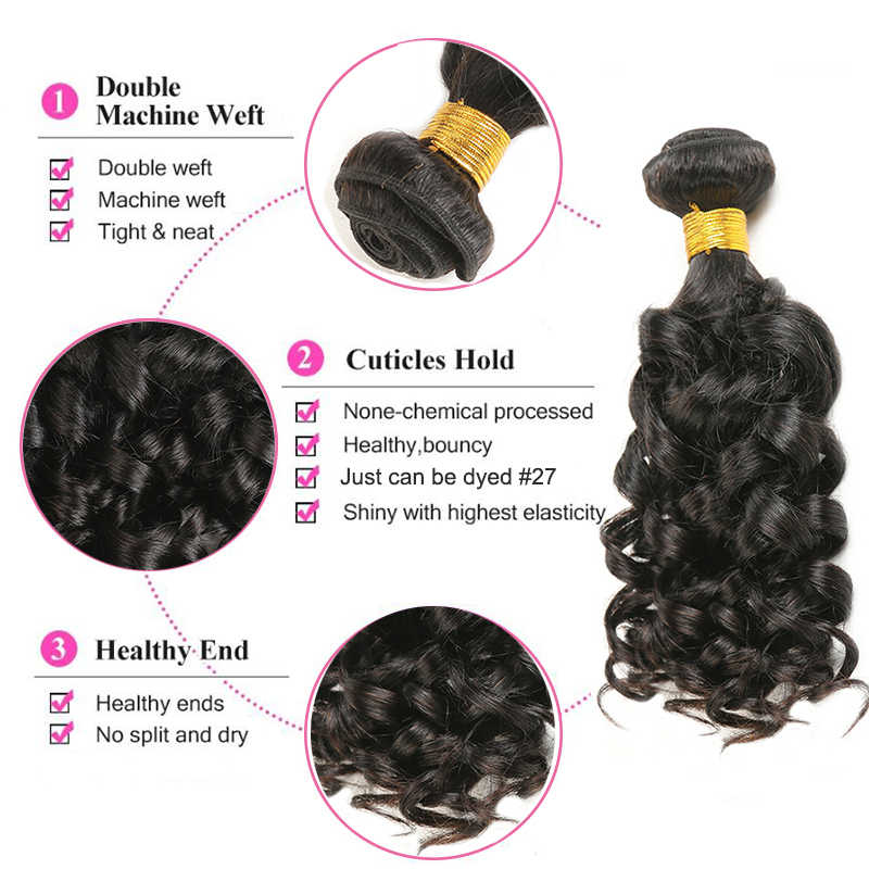 Bouncy encaracolado feixes de cabelo humano soku 8-30 Polegada feixes de tecer cabelo brasileiro cor natural não remy extensão do cabelo humano 1 pc