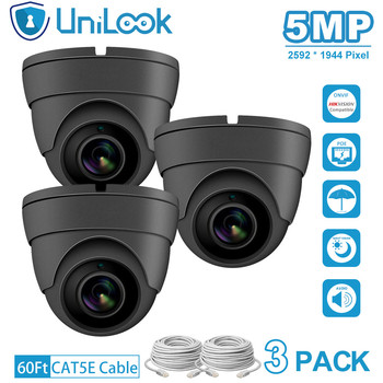 UniLook 5MP IP Camera poe onvif Audio Built in Microphone IP CCTV Security Turret Dome Camera H.265 3PACK Grey цена 2017