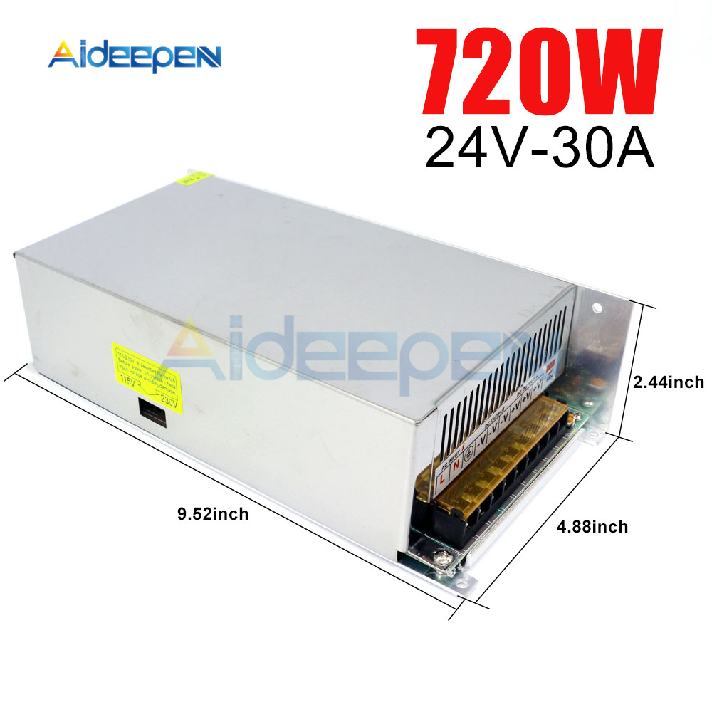 DC 24V 30A 720W Switching Power Adapter 24V 30A 720 Watts Voltage Converter Regulated Switch Power Supply for LED