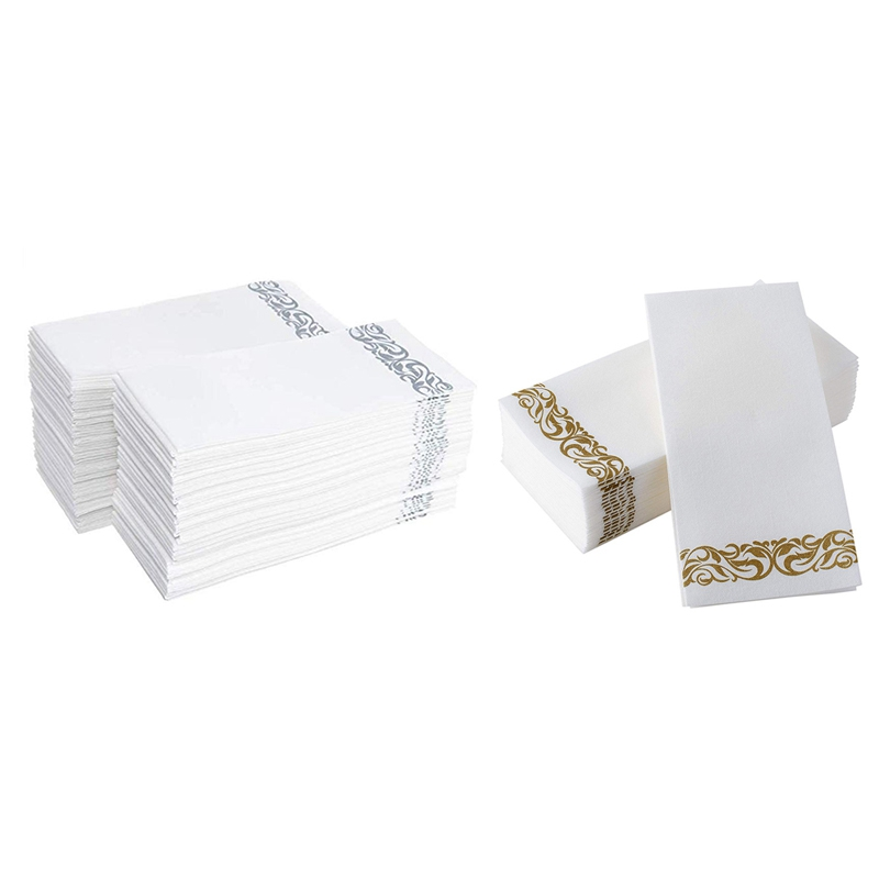 100Pcs Disposable Hand Towels Paper Napkin Bathroom Weddings Party Hotel Napkins Paper Soft And Absorbent Airlaid Paper Guest To