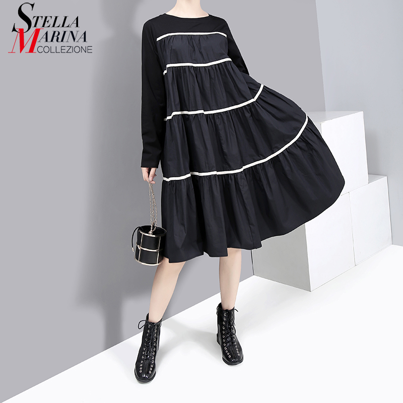 * New 2019 Autumn Clothing Women Black Dress Full Sleeve A-Line Striped Ladies Cute Simple Casual Street Style Dresses Robe 5608
