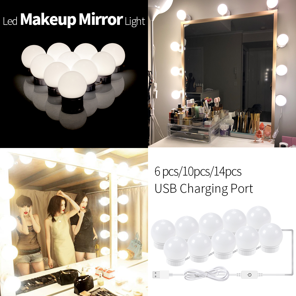 Led Vanity Light Makeup Mirror Light Bulb 12V LED USB Cable Powered Dressing Table Make Up Mirror Lamp Decor Bathroom Wall Lamp