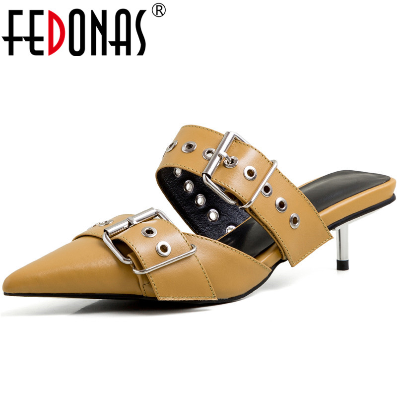 FEDONAS 2020 Summer Autumn Thin Heels Pumps Cow Genuine Leather Sexy Women Shoes Retro Metal Decoration Party New Shoes Woman