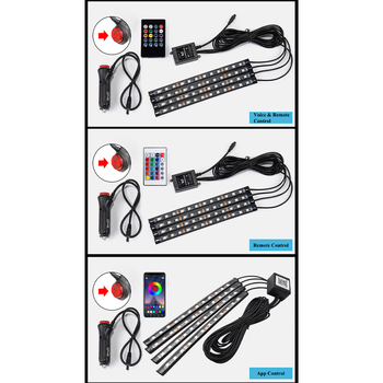Car styling Foot Light Interior Wireless Remote/Music/Voice Control Decoration Light Cigarette LED Atmosphere RGB LampStrip 6