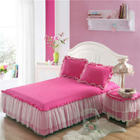 Modern Princess Bed Skirt Solid Soft Lace Edge Bedspread 1 pc Lace Bed Skirt +2pcs Pillowcases Bedding Set Ruffle Fitted Sheet