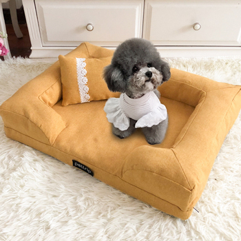 Dog Bed Blue Brown Dog House Sofa Kennel Square Pillow For Small Medium Dogs Cat House Beds Mat Pet Supplies