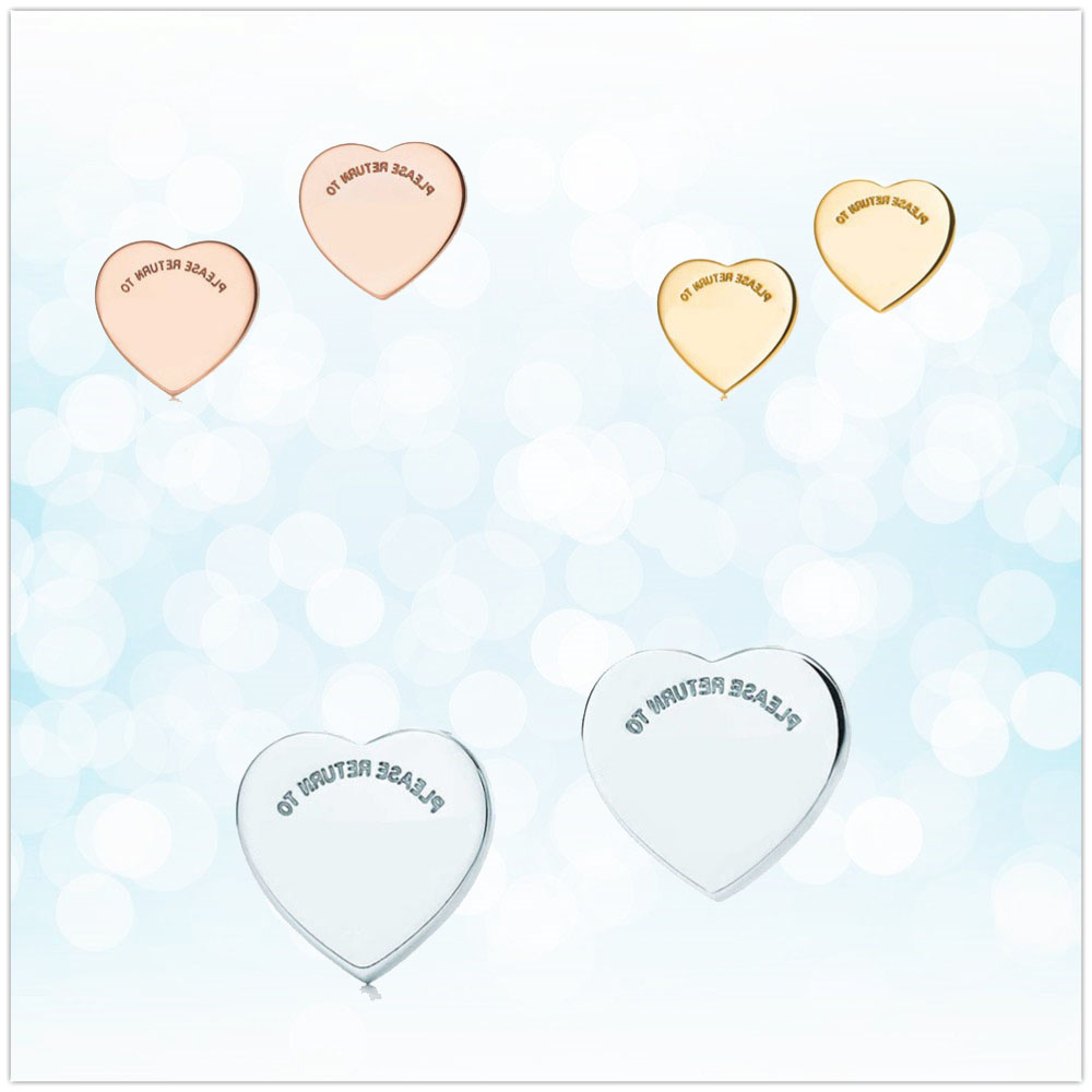 Ladies Earrings Jewelry Sterling-Silver 925 Heart-Shaped Classic Fashion Gift Holiday
