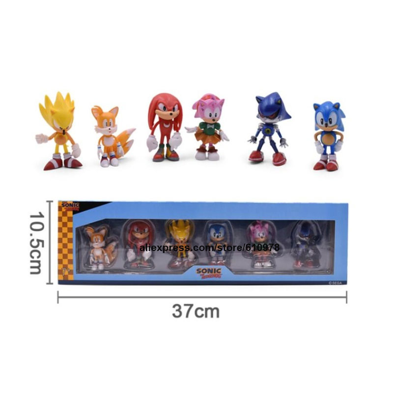 Ohmetoy 6pcs Sonic The Hedgehog Action Figure Toys With Box Keychain Key Ring Cake Toppers Birthday Gift Action Toy Figures Aliexpress