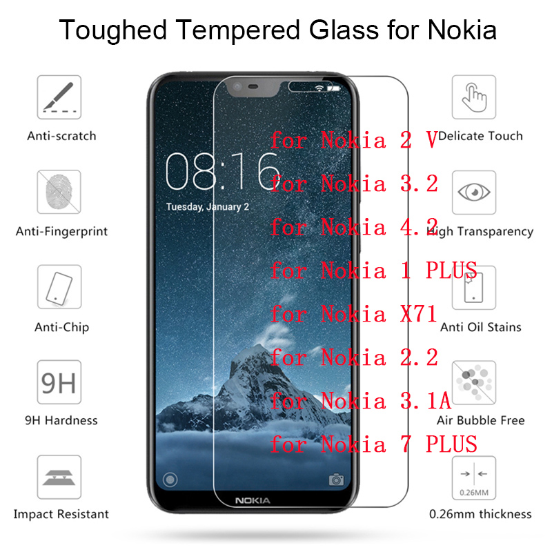 Transparent Tempered Glass for <font><b>Nokia</b></font> 7 PLUS 3.1A 2.2 Film Toughed Clear Protective Screen Protector for <font><b>Nokia</b></font> <font><b>X71</b></font> 1 4.2 3.2 2 V image
