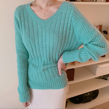 Ailegogo Casual Women Pullovers Spring Autumn Knitted Female Slim Fit Solid Color Sweater Knitted Ladies Knitwear Tops 2