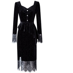 Image 4 - 有名人ドレス春 2019 新しい女性の女性のベルベット長袖レースパーティードレスプラスサイズフォークオープニングヴィンテージセクシーなドレス
