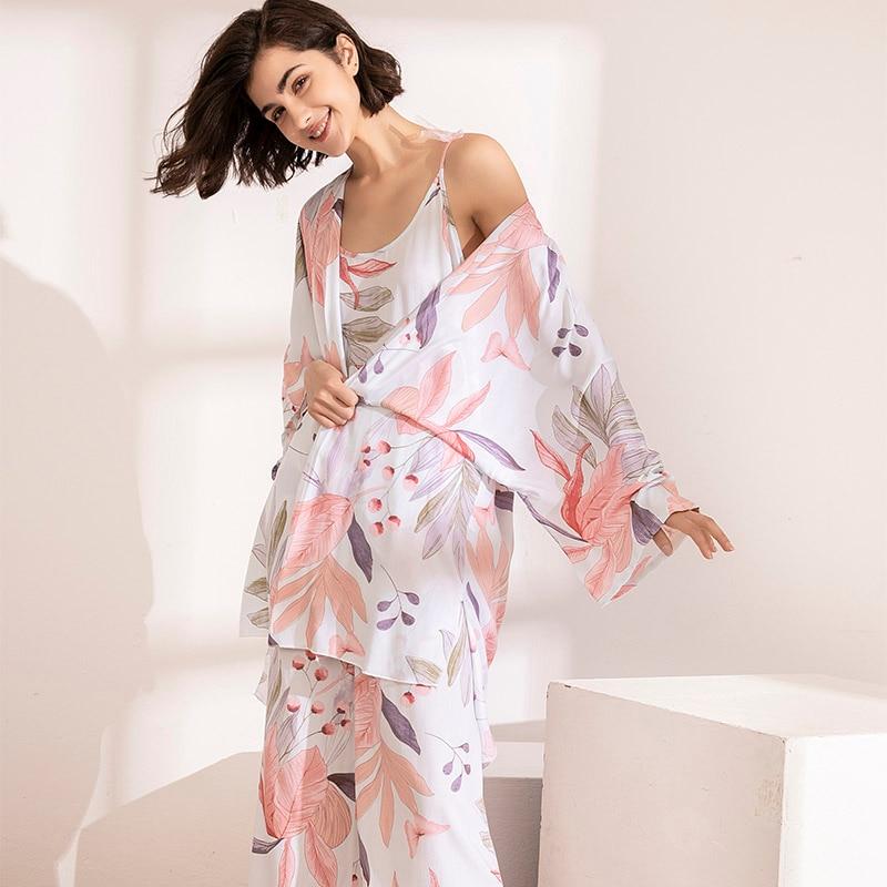 HOT SELLING 3Pcs Soft Pajama Set For SPRING & FALL Ladies Sleepwear Floral Printed Pink Leaves Cardigan+Camisole+Pants Homewear