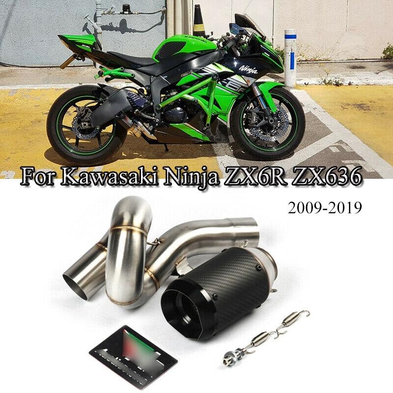 ninja zx6r zx636 motorrad auspuff mitte link schalldampfer spitze rohr fur kawasaki 2009 2019 abgasanlage rohr geandert slip auf