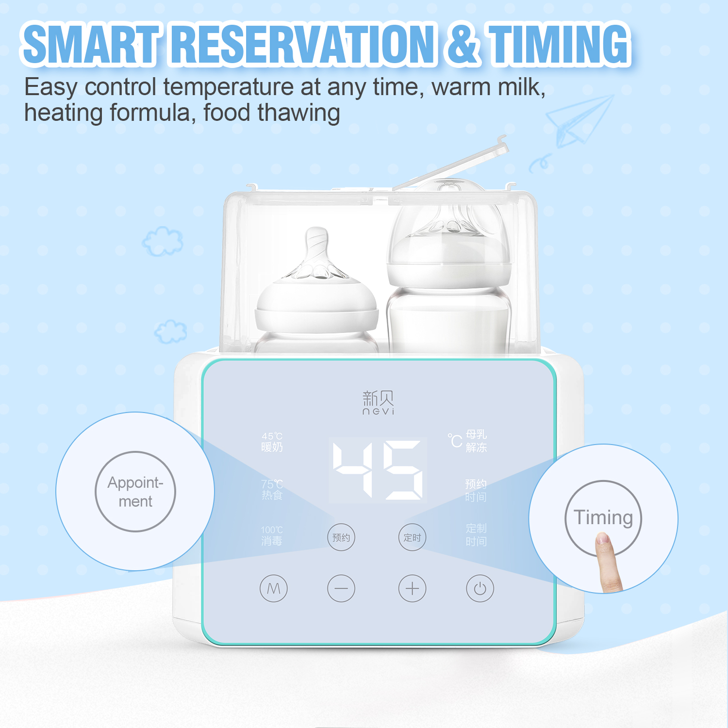 Baby Bottle Warmer & Bottle Sterilizer, Double Bottle Warmer for Breast Milk, LCD Display Accurate Temperature Control 4