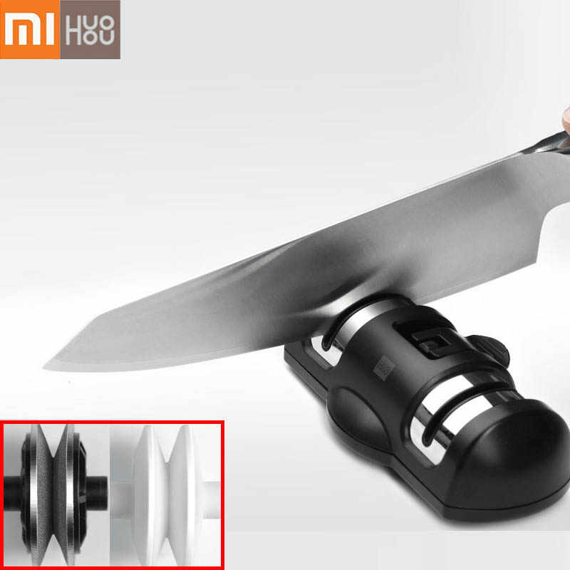 2019 Xiaomi Mijia Huohou Knife Sharpener 2 Stages Double Wheel Sharpener Whetstone Sharpener Tool for Kitchen Knife