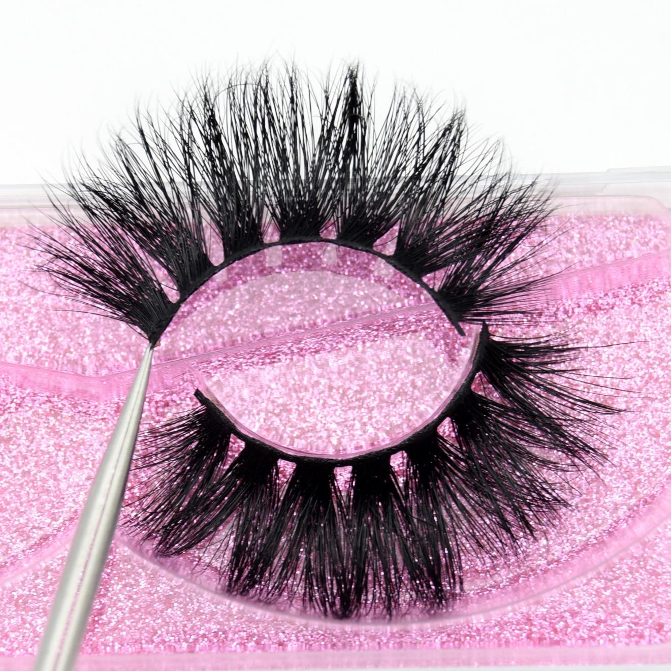 Visofree Luxury 5D Mink Hair False Eyelashes Wispy Cross Fluffy Mink Lashes Makeup Handmade Thick Long Lashes Mink Eyelashes K09