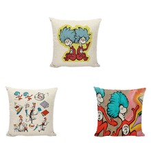 New Design Character Series Dr. Seuss Pillowcase Elephant Book Fish Living Room Sofa Lounge Car Decoration Linen Cushion Cover dr seuss the tooth book