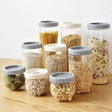 Прозрачные кухонные многозерновые Герметичные банки скандинавские штабелируемые коробка для хранения еды для перекуса резервуар для хранения пластиковая емкость для хранения пищи WF618229