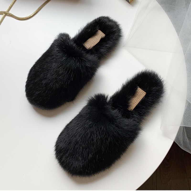 Kadın katır kürk terlik kürklü kabarık bayan ayakkabı marka siyah loafer'lar yumuşak daireler dış rahat ayakkabılar kadın kış ev slaytlar