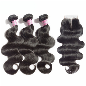JayMay бразильские волосы, волнистые пряди, объемная волна, с закрытием, 6x6, кружевная застежка, с пряди, 3 пряди, с закрытием, девственные волосы