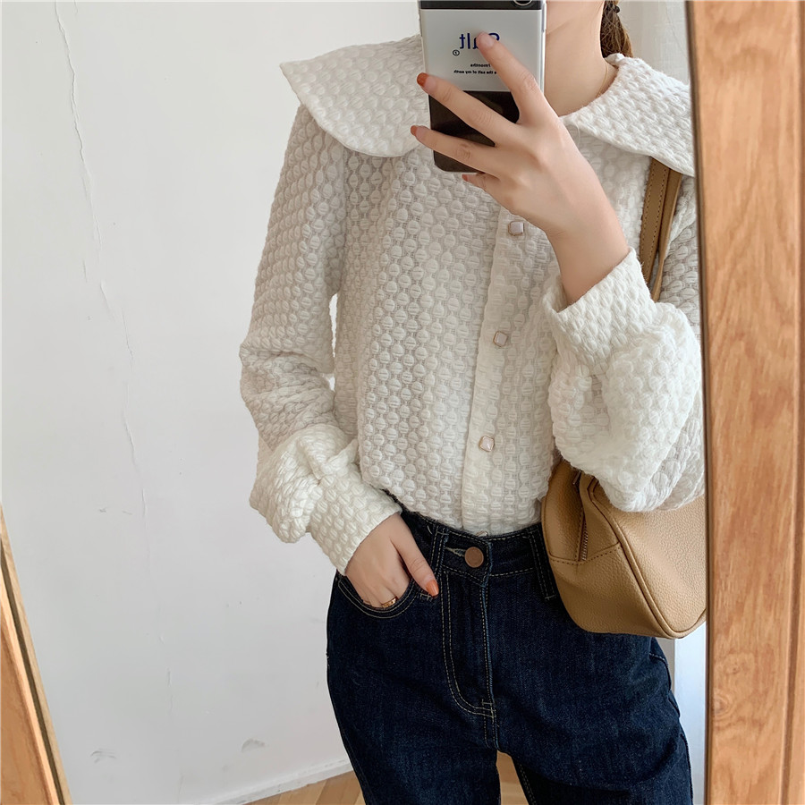H43021d38980e4d1f8936655d4b1b6dccV - Spring / Autumn Big Lapel Long Sleeves French Lace Buttons Blouse