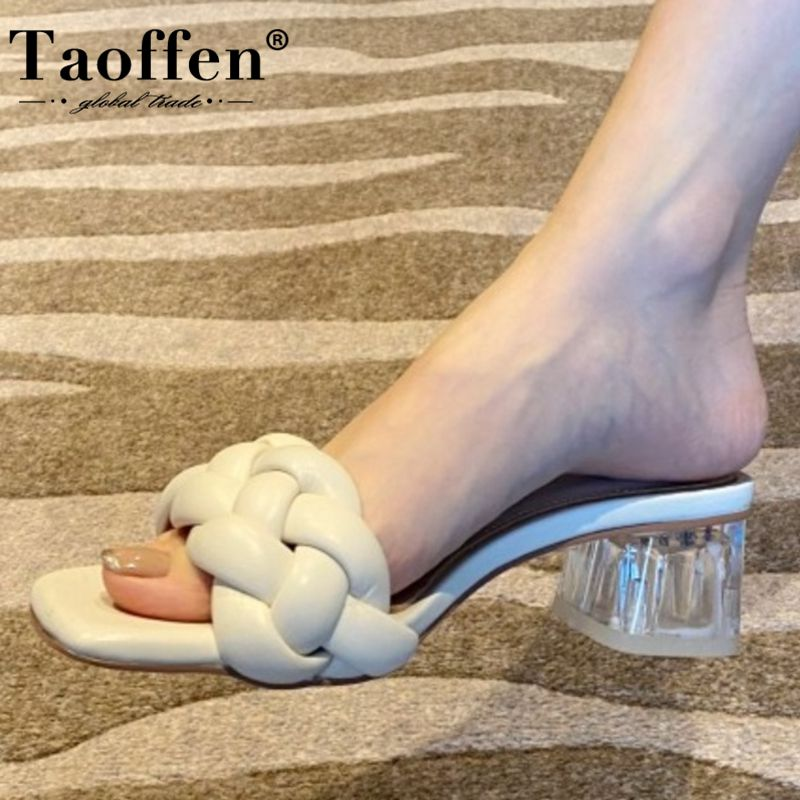 Taoffen Women Sandals Shoes Fashion Solid Color Slippers Lady High-Quality Thick Heels Shoes Women Slip On Footwear Size 33-40
