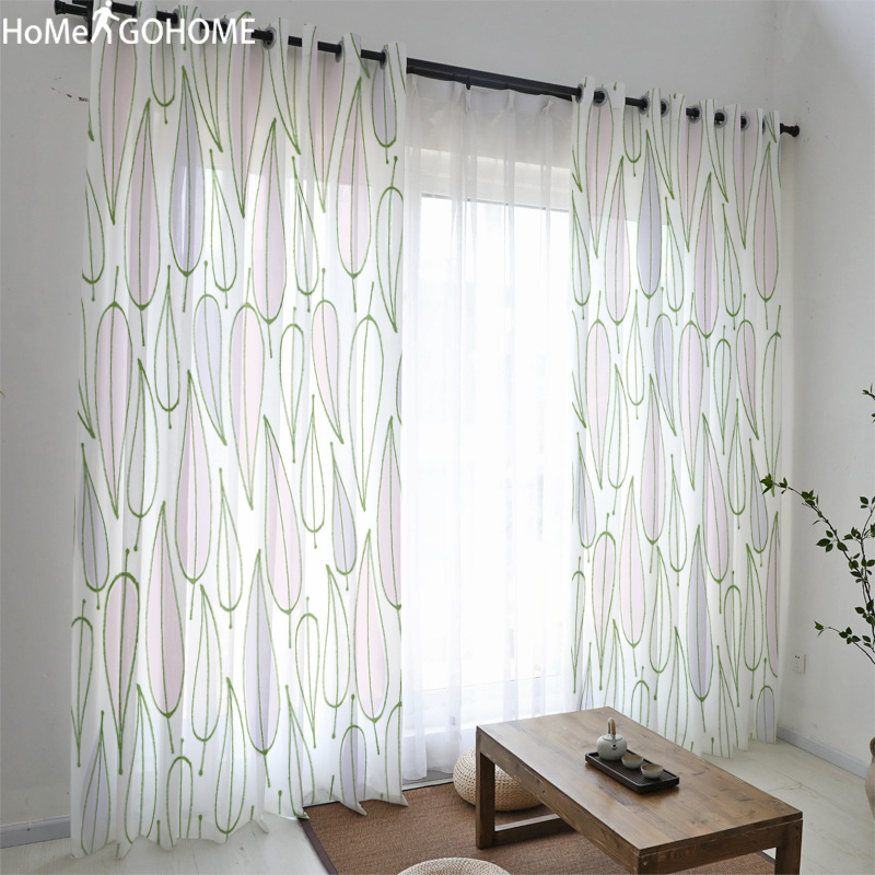 Elegant Leaves Home Decor Modern Tulle Curtains For Living Room Bedroom Window Sheer Voile Boho Curtains Light Transmission Cool