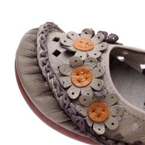 Image 5 - BEYARNEsummer בעבודת יד פרח נעלי נשים אמיתי עור סנדלי נקבה מוקסינים לופרס רך outsole נעליים יומיומיות flatsE870