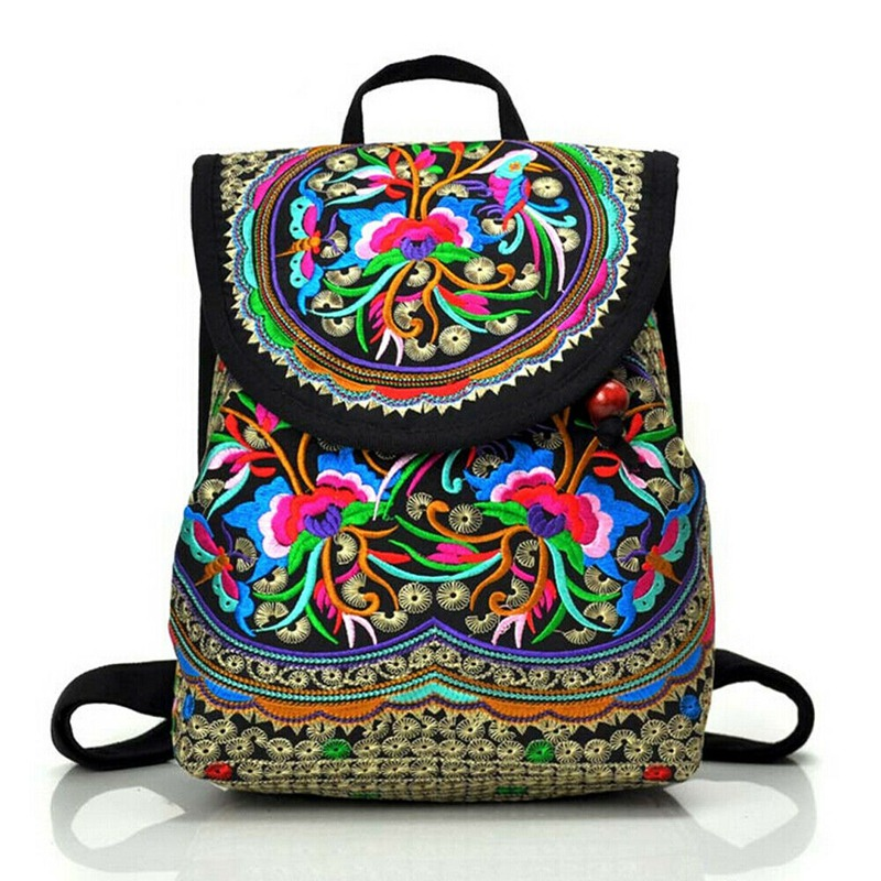 Women's Floral Embroidered Backpack Summer Travel Shoulder Rucksack Gift Floral Backpack Rucksack Bohemian
