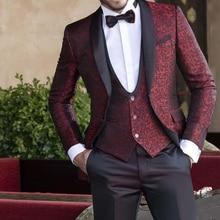 Floral Jacquard Wedding Tuxedo for Groomsmen 3 Piece Men Suits Set Jacket Vest with Black Pants Shawl Lapel Male Fashion Clothes